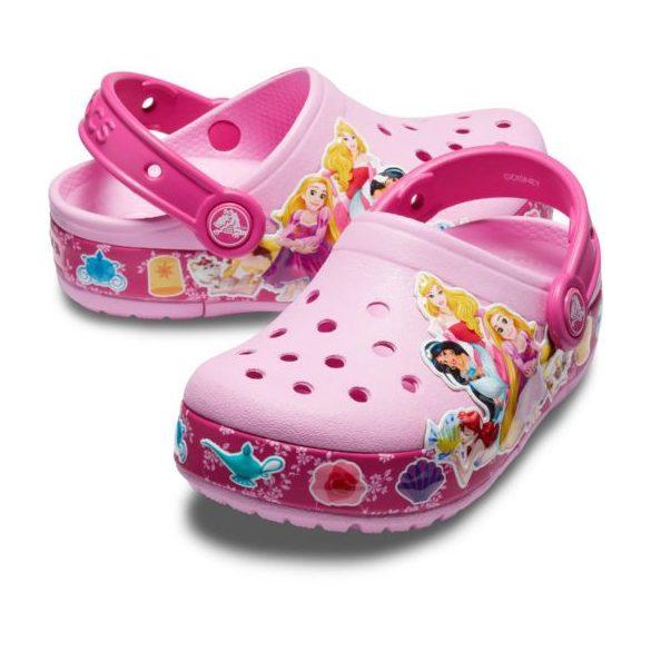 Crocs Crocs FL Princess Band LT Clog Kids kislány papucs* - VILÁGÍTÓ TALP, 3D GRAFIKA!
