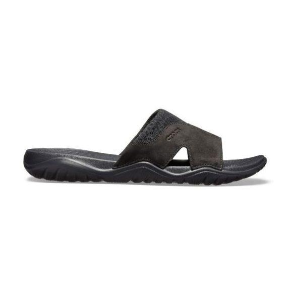 Crocs Swiftwater Leather Slide Men férfi papucs* - BŐR FELSŐRÉSZ!
