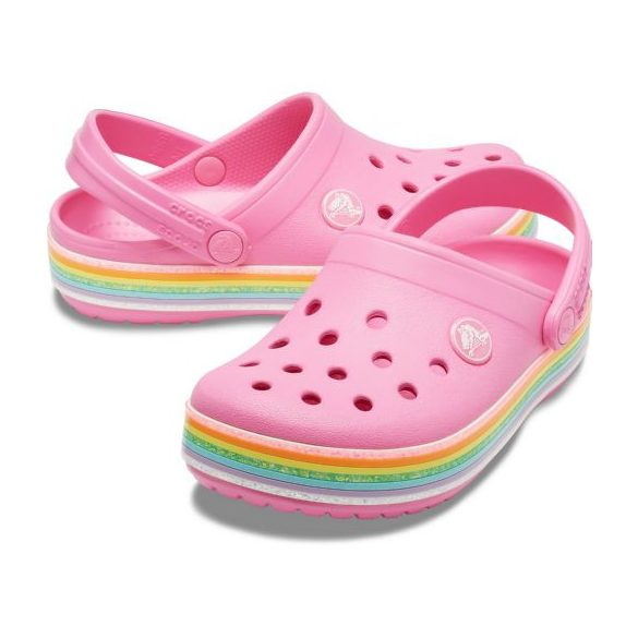 Crocs Crocband Rainbow Glitter Clog Kids kislány papucs* - NAGYON SZÉP!